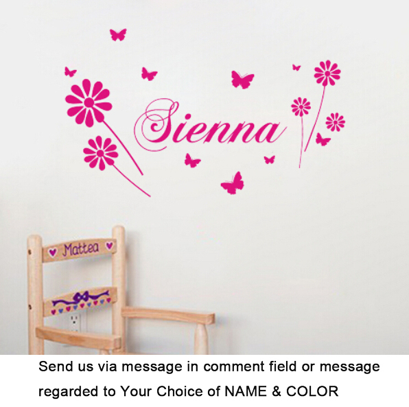 Custom made personalized custom name butterfly flower fly wall decal sticker for girls room
