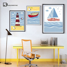 Lighthouse Sea Beach Sailing Boat Vintage Poster Minimalist Art Canvas Print Seascape Picture for Home Children Room Decor CX101(China)