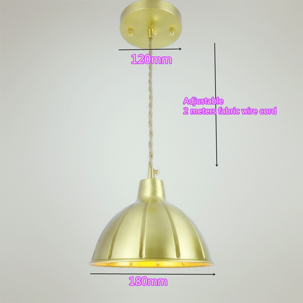 D180mm brass bell copper cone lampshade fabric wire pendant lamp ...