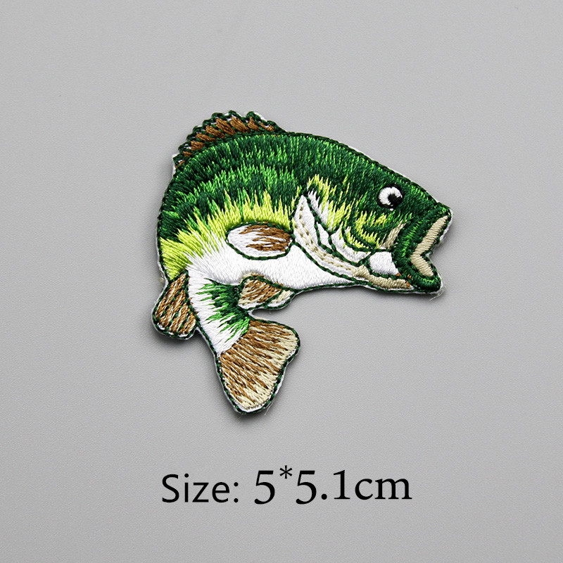 US $6 85 |5pcs/lot Green Sea Fish Embroidery Patch Backpack Bag Jacket Iron  On Patch for Clothes Small Glue Sticker Beautiful Badge-in Patches from