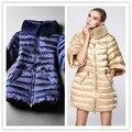 Moda de invierno de alta calidad de la manera medio-largo abajo prendas de abrigo abrigo de piel de conejo mujeres chaqueta media manga