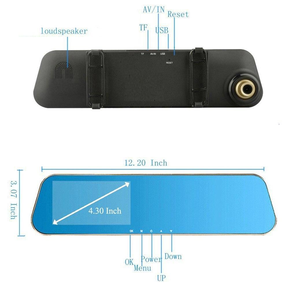 Auto Dual Lens Dash Cam Auto Camcorder FHD registrador 4,3 pulgadas Dash Cam coche Dvr azul revisión espejo grabadora de vídeo Digital - 3