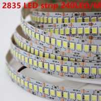 1 m 2 m 3 m 4 m 5 m/lote 10mm PCB 2835 SMD 1200 LED tira de cinta DC12V ip20 no impermeable luz Flexible 240 leds/m blanco cálido blanco