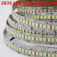 1 m 2 m 3 m 4 m 5 m/lote 10mm PCB 2835 SMD 1200 LED tira de cinta DC12V ip20 no impermeable luz Flexible 240 leds/m blanco cálido blanco