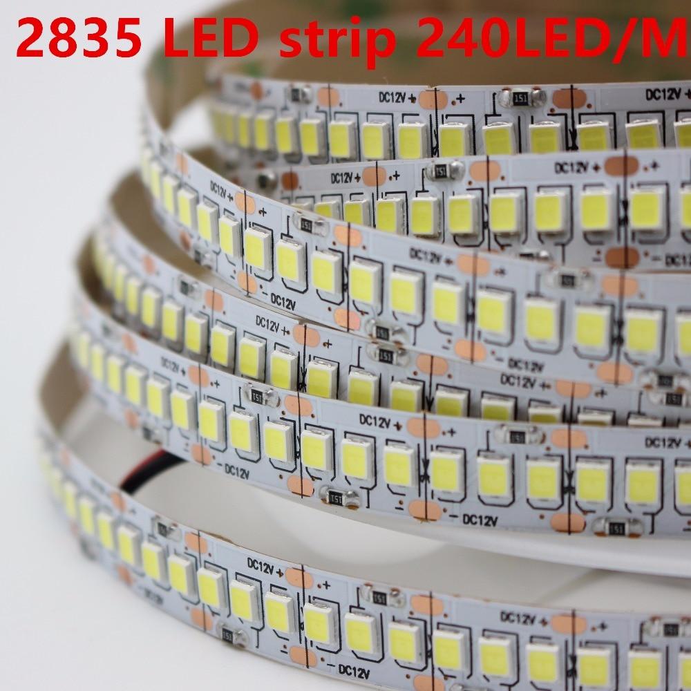 1m 2m 3m 4m 5 מטר\חבילה 10mm PCB 2835 SMD 1200 LED רצועת קלטת DC12V ip20 ללא עמיד למים גמיש אור 240 נוריות/m, לבן חם לבן