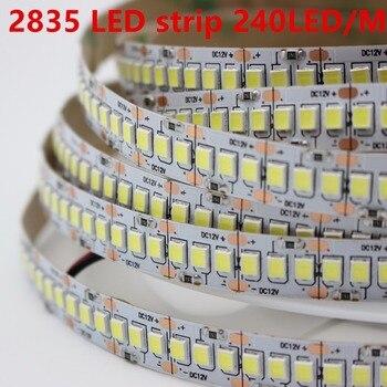 1m 2m 3m 4m 5 m/lote 10mm PCB 2835 SMD 1200 cinta de tira LED DC12V ip20 luz Flexible no impermeable 240 leds/m, blanco cálido blanco