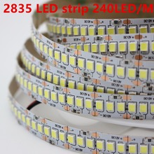 1 м 2 м 3 м 4 5 м/лот 10 мм PCB 2835 SMD 1200 Светодиодные ленты лента DC12V ip20 не водонепроницаемый гибкий светодиодный светильник 240 светодиодов/м, белый, т...