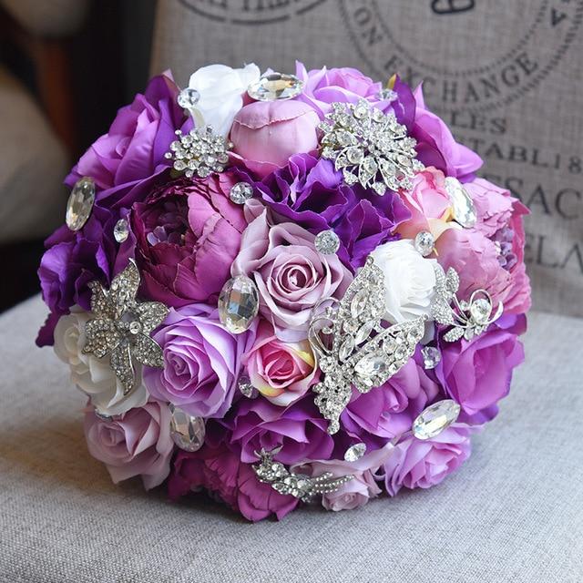Eternal Angel 2018 New Hand Made Purple Big Silk Flower Bridal
