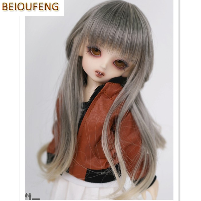 BEIOUFENG (15.5-17CM) 1/6 BJD Wig Long High Temperature Doll Wigs for Dolls Accessories,Fashion Synthetic Doll Hair for Dolls fashion black hair extension fur wig 1 3 1 4 1 6 bjd wigs long wig for diy dollfie