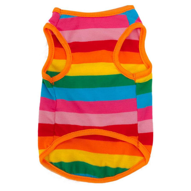 US $1 79 15% OFF|Dropshipping Best Sell High Quality New Rainbow Stripe Pet  Shirt Dog Clothes Puppy Cat Apparel Costume Clothing Summer WH-in