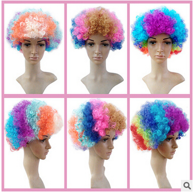 Fashion font b Colorful b font Super Fluffy Afro Wig Dance Party Synthetic Fiber Multicolor Wigs