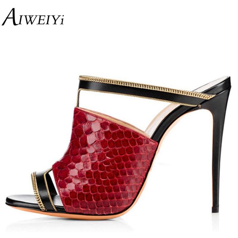 AIWEIYi - Strap alla caviglia donna , nero (Red), 35