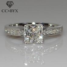 CC Ювелирные изделия Модные кольца из стерлингового серебра 925 пробы для женщин ювелирные изделия Простой дизайн квадратные Свадебные Обручальное кольцо Бижу CC631