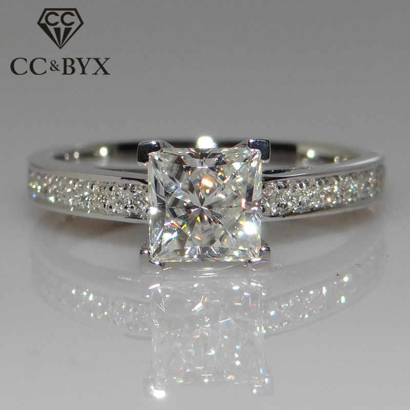 CC เครื่องประดับแฟชั่นแท้ 925 แหวนเงินสำหรับผู้หญิงเครื่องประดับสแควร์แต่งงานแหวนหมั้น Bijoux CC631