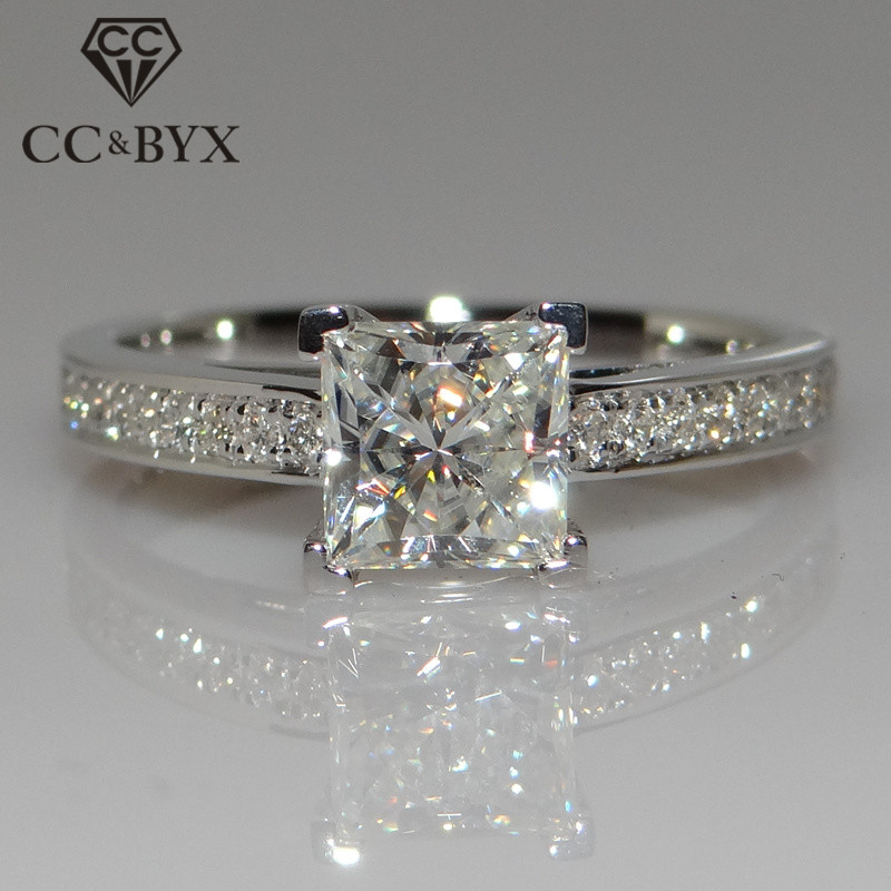 CC Jewelry Fashion Sterling 925 Silver Rings For Women Jewelry Simple Design Square Bridal Wedding Engagement Ring Bijoux CC631(China)