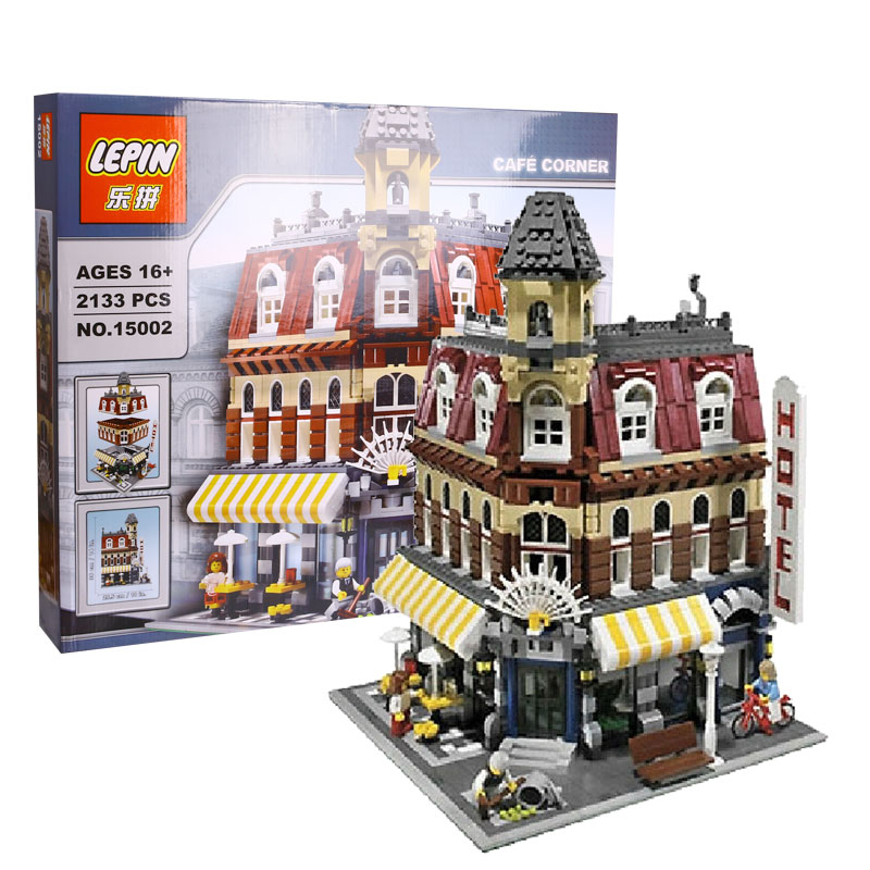 LEPIN 15002 City Street Cafe Corner Model Building Kits Assembling Blocks Kid Toy Compatible with Lego 10182 Educational Gift lepin15003 2859pcs city series the town hall model building kits blocks kid toy gift compatible with 10224