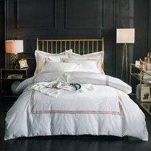 エジプト綿刺繍ホワイトカラー高級ホテルクイーンキング寝具セット布団カバーブラウンシルバーベッドシーツセット枕カバー