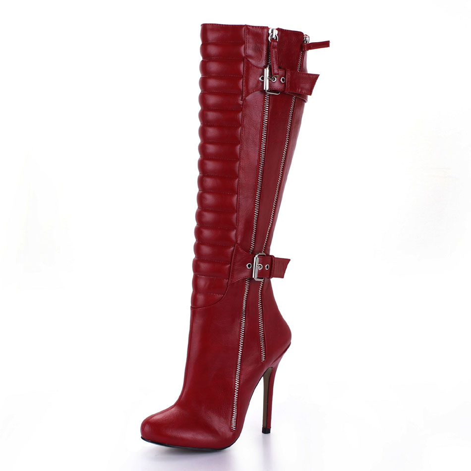 2016 Winter Burgundy Black Sexy Party Shoes Women Stiletto High Heels Buckle Zipper Lady Knee-High Boot Zapatos Mujer 0640CBT-Y1
