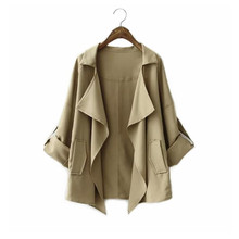 Khaki Loose leisure Trench Coat Europe Women's  Simple a Short Paragraph Cardigan Thin Coat