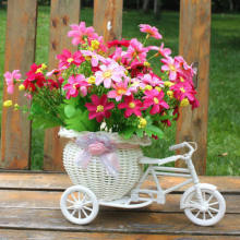2019 New Bicycle Decorative Flower Basket Newest Plastic White Tricycle Bike Design Flower Basket Storage Party Decoration Pots(China)