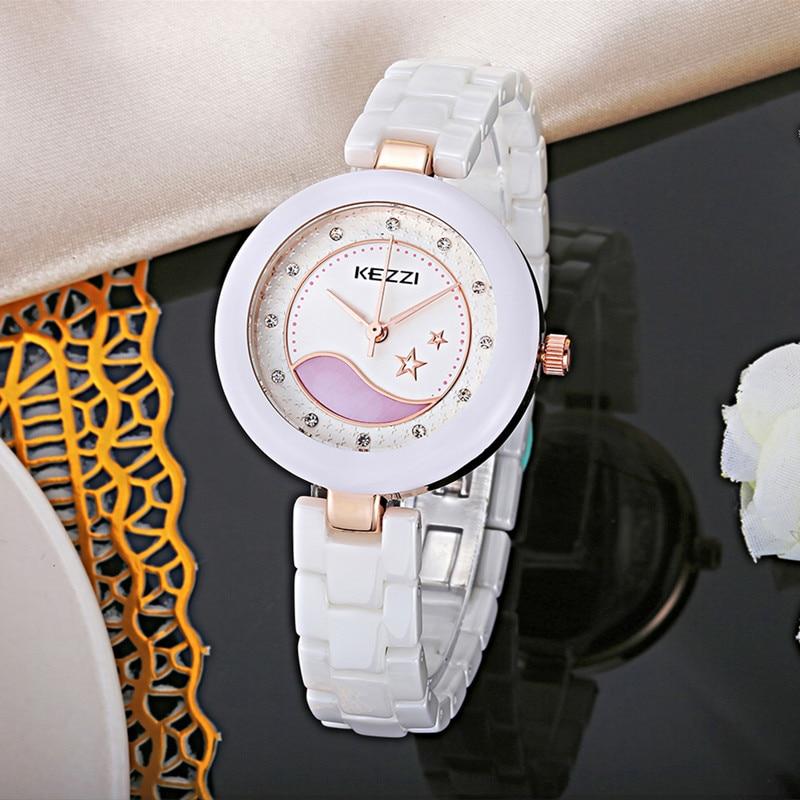 KEZZI real ceramic women watch super waterproof top luxury brand fashion ceramic wristwatch women dress quartz