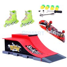 1Pair Finger Roller Skates with Mini Skateboard and Ramp Accessories Set(China)