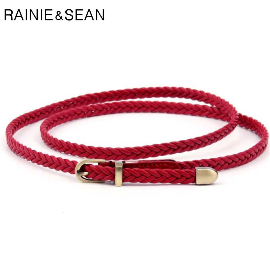 RAINIE SEAN Braided Leather Belt Women Thin Waist Belt Black Red White Pink Ladies Pu Leather Strap Pin Bucklet Female Belts