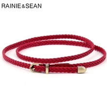 RAINIE SEAN Braided Leather Belt Women Thin Waist Belt Black Red White Pink Ladies Pu Leather Strap Pin Bucklet Female Belts мужской ремень braided belt pin hhm 021