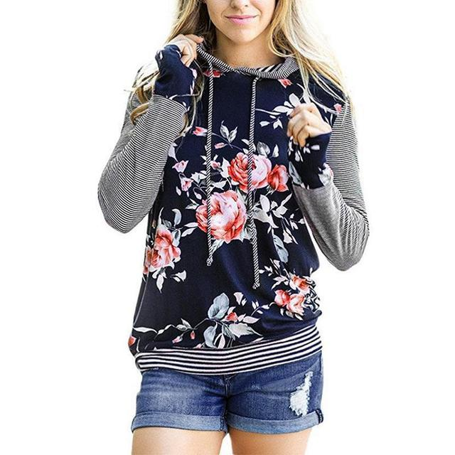 df030afaac69f Winter Floral Print Long Sleeves Hoodies Women Patchwork Striped S-3xl  Large Plus Size Fashion