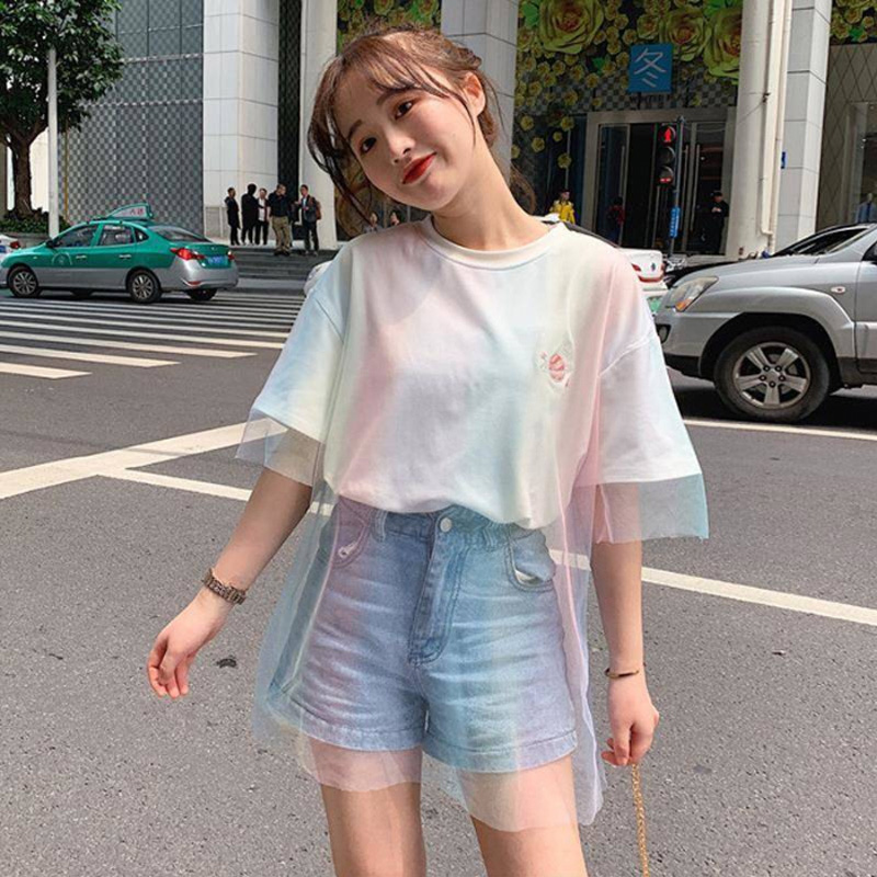 Fashion personality rainbow gradient color mesh stitching design   t     shirt   harajuku summer kawaii   t  -  shirts   korean girls white top