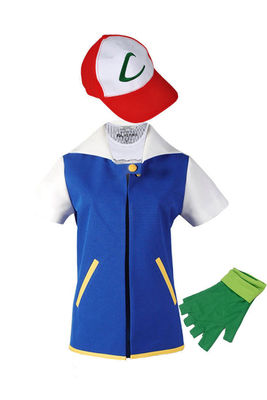 2018 High Quality Pokemon Ash Ketchum Cosplay Costumes Pocket Monster Cosplay Blue Jacket + Gloves + Hat + Ash Ketchum Ball
