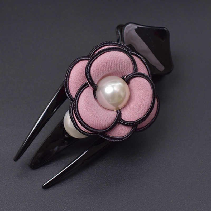 ขายส่งผ้าเกาหลีผู้ใหญ่ขนาดใหญ่สีดำ Word เป็ดปาก Claw CLIP Simple Pearl Camellia ดอกไม้ผมหญิงอุปกรณ์เสริมผม