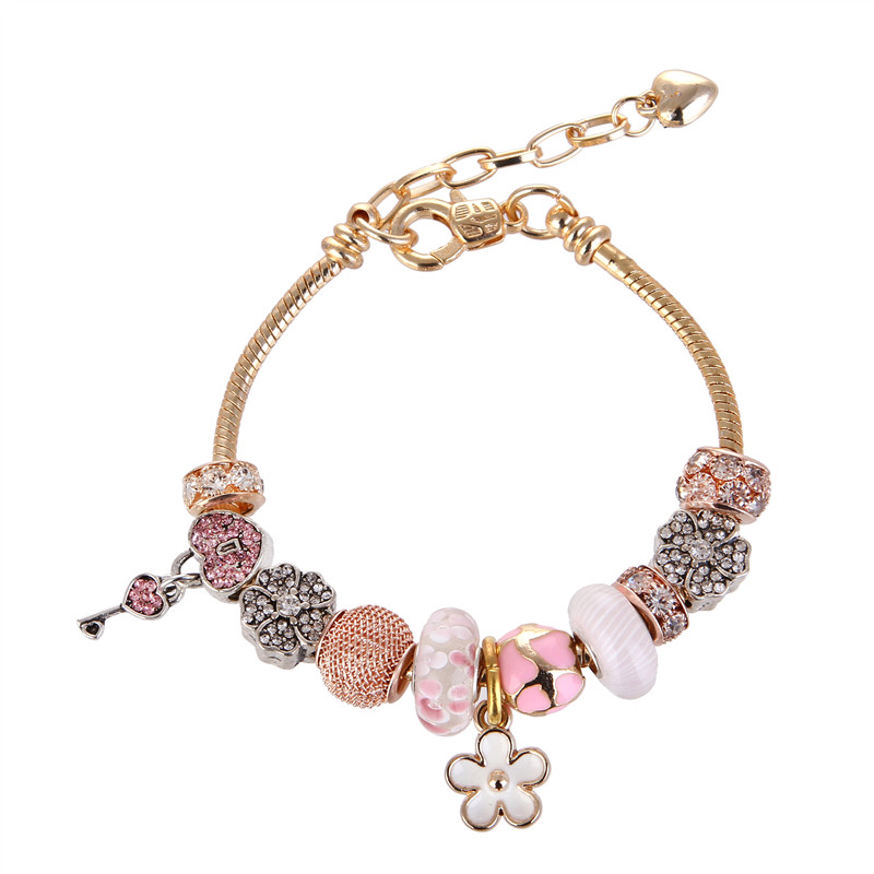 High Quality Rose Golden Flower Pendant Crystal Glass Rhinestone Charms Bracelet Pandora Bracelet For Women/Gril gift jewelry