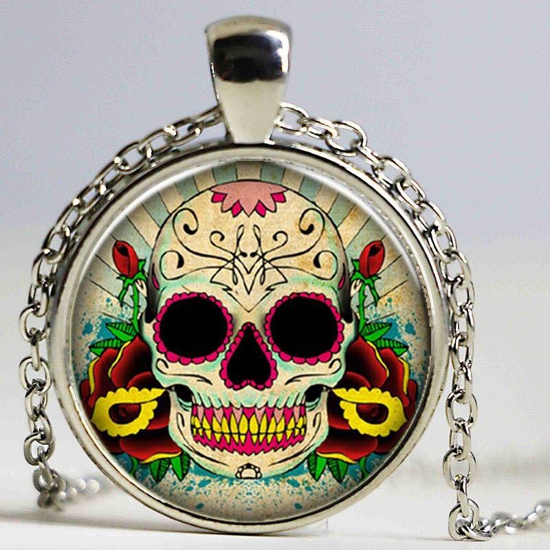 Necklace for Men Sugar Skull Pendant Necklace Day Of The Dead Necklace Art Pendant Art Charm Handmade Pendant Sugar Skull Jewelry