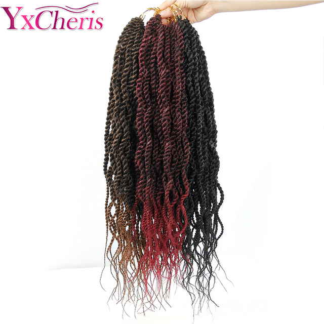 "YxCheris Bulk Crochet Braids Hair Extensions 18""Synthetic Curly Senegalese Twist Crochet Braiding Hair Weave Black Omber 1"