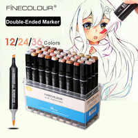 Finecolour Skin Hair Colors Art Soft Marker Brush Sketch Manga Pen Dual Tip Set Portrait 12/24/36 Permanent Alcohol Based Marker