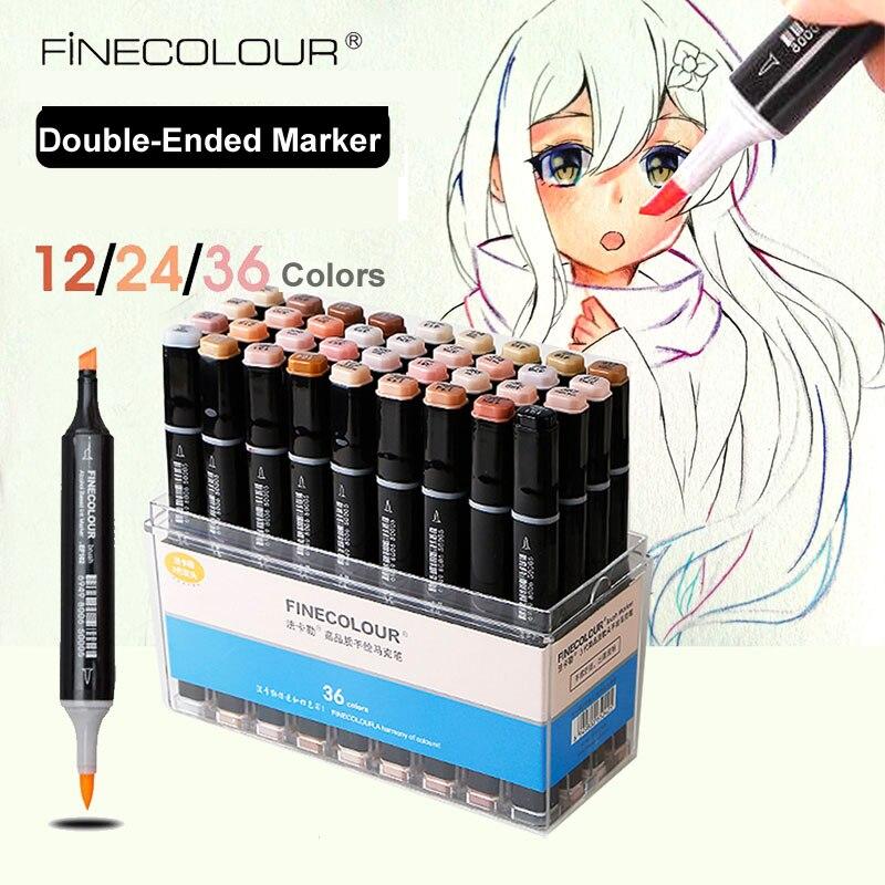 Finecolour la piel del pelo de colores arte de marcador de pincel de dibujo pluma manga doble punta de retrato 12/permanente de 24/36 a base de Alcohol marcador|Rotuladores de arte|   -