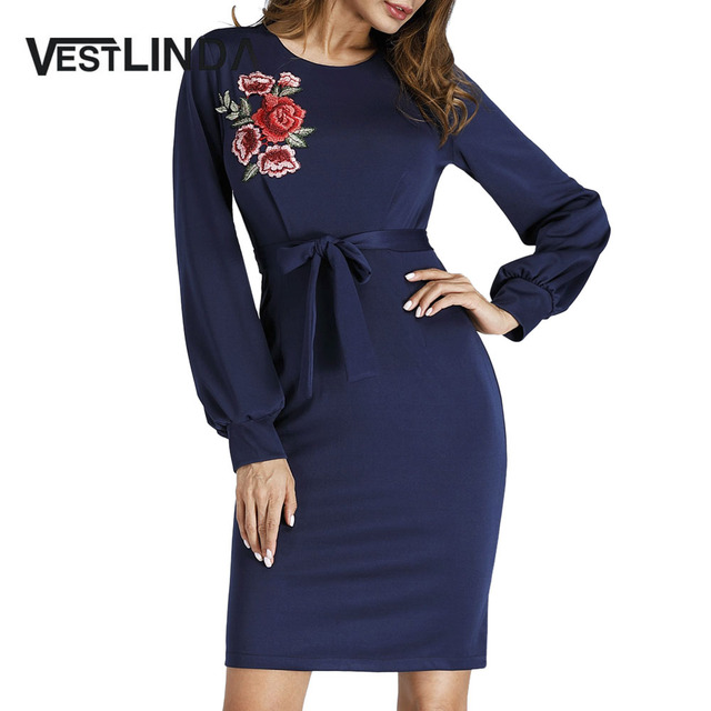 VESTLINDA Women Dress Vestidos De Festa Casual O-Neck Long Puff Sleeve  Floral Embroidered Belted b3a62066a932