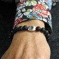 Mala Bracelets 925-Sterling-Silver Bracelet Casual Black Lava Rock Bracelet Men/Women Braided 925 Silver Bracelets Female/Male