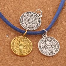 Saint Charm Beads St Benedict Patron Medal Cross Charms 20x17mm 100pcs Antique Silver/Gold Pendants T1649 saint jesus benedict nursia patron medal crucifix cross charm pendants jewelry diy 11 8x15mm 200pcs lot antique gold a 381
