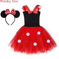 Minnie Mouse Dress Costume Girl Birthday Party Glitter Cosplay Tutu Dress Black&Red Bow Tie Dot Knee Length Dress With Headband