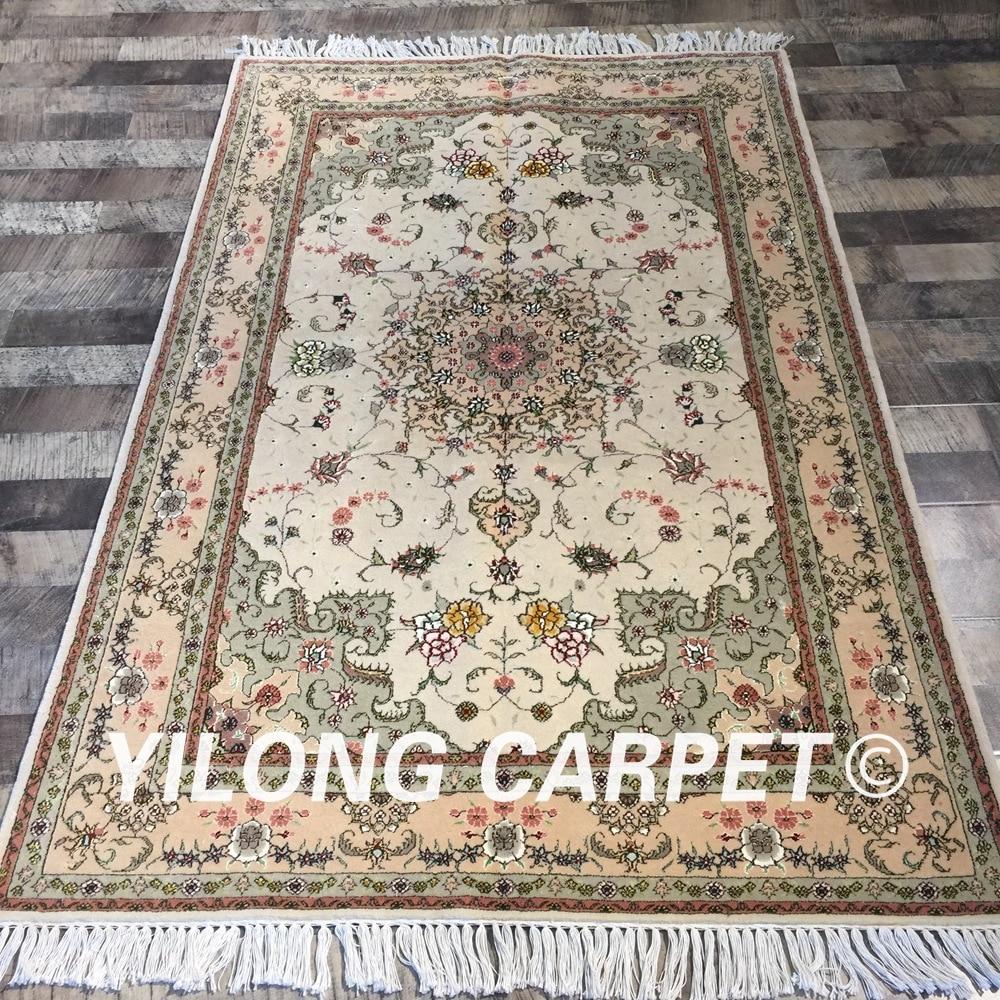 Yilong 4'x6 'fait main tapis persan oriental exquis maison tapis cachemire laine soie tapis (WY2081S4x6)