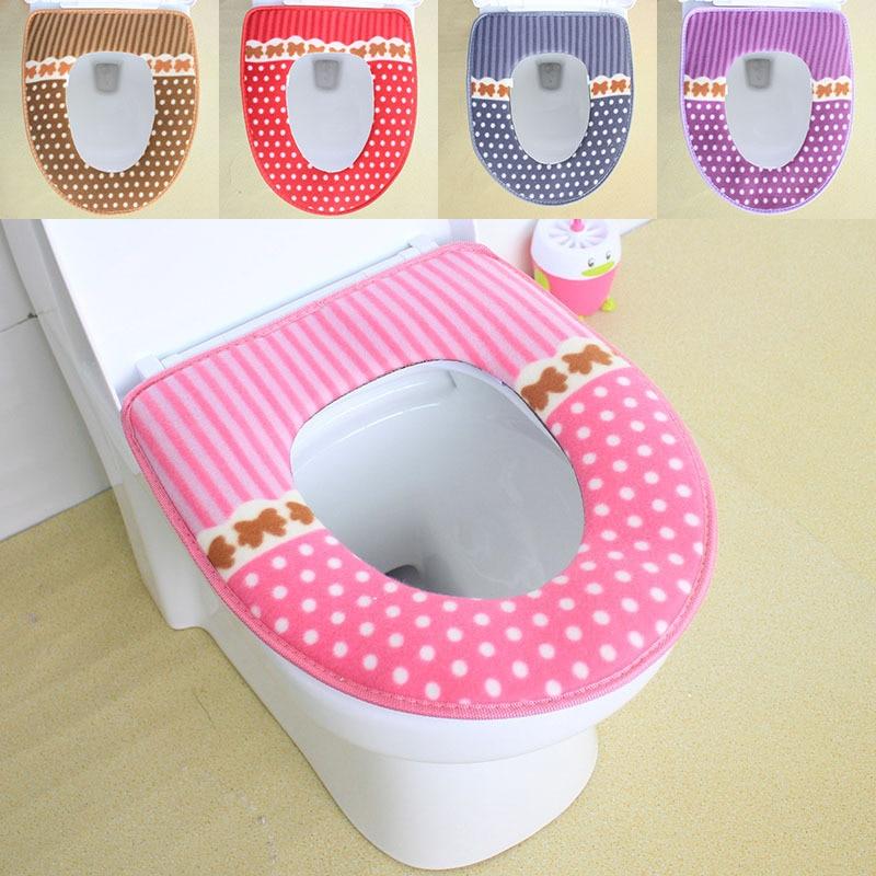 Toilet Seat Cover Warmer Winter Washable Waterproof Magic