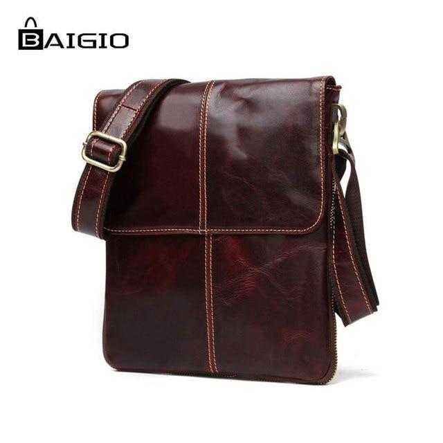 Baigio Men s Leather Vintage Shoulder Bag Crossbody Bags Men Messenger  Designer Bag Retro Style Brown Small Casual Briefcase aaa709fe30476