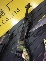 2016 New Product Shanghai Music Show High End Crystal Body Fretless Electric Bass Guitar With Led