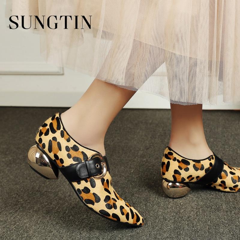 Printemps Robe Femmes noir Sungtin Crin Pointu Mode Bout Leopard Mary Talon Pompes Jane Soirée Chaussures Mi Casual De Automne Dames hrdCQsxt