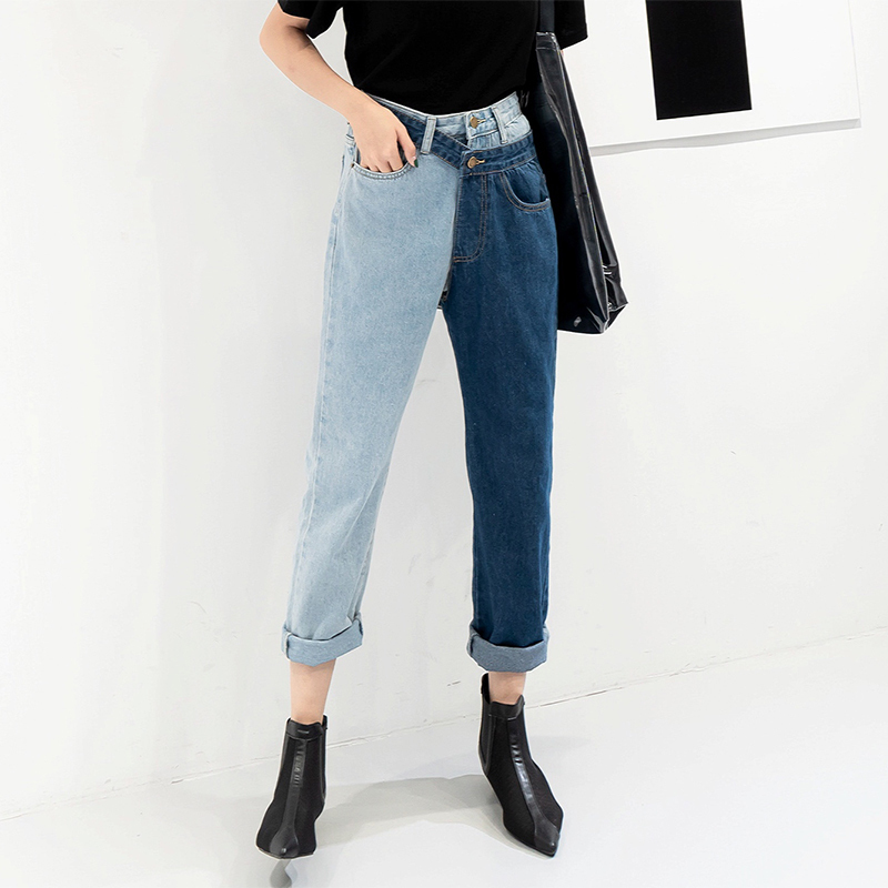 [EAM] New Spring 19 Fashion High Waist Patchwork Hit Color Detachable Blue Jeans Straight Denim Pants Women SC08 5