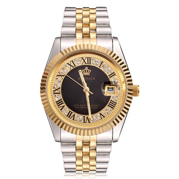 18k Yellow Gold Fluted Bezel Pearl Diamond Dial Full Stainless Steel Luminous Watch 1