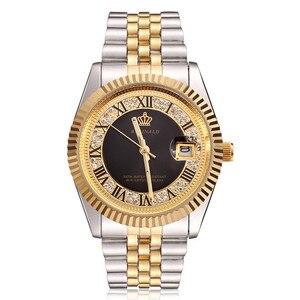 Image 2 - Original New 2020 REGINALD Quartz Watch Men 18k Yellow Gold Fluted Bezel Pearl Diamond Dial Full Stainless Steel Luminous Clock