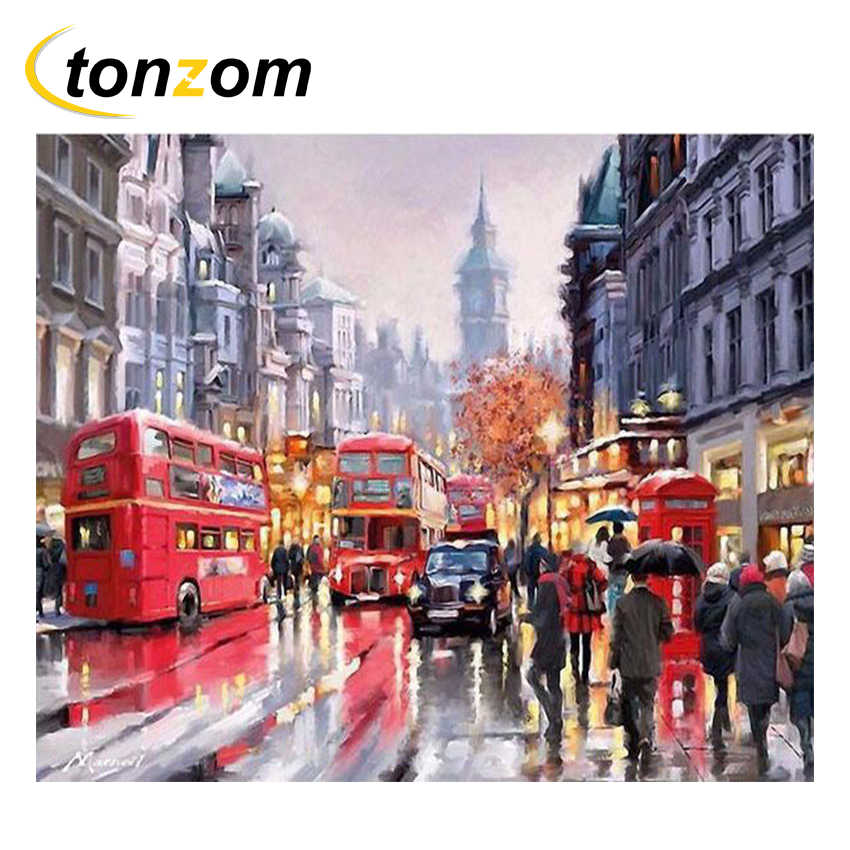 TONZOM London Street Diy Painting By Numbers Abstract Walkers Oil Painting On Cuadros Decoracion Acrylic Drawing City Bus Poster